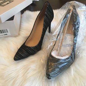 NEW Ivanka Trump Black and Gold Suede heels